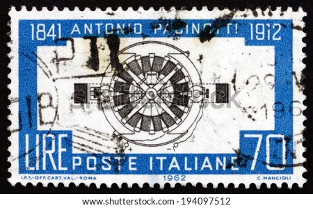 ITALY - CIRCA 1962: a stamp printed in the Italy shows Pacinotti'??s Dynamo, Antonio Pacinotti, Physicist and Inventor of the Ring Winding Dynamo, circa 1962 - stock photo