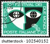 ITALY - CIRCA 1967: a stamp printed in the Italy shows Stylized Mask, 10th Festival of Two Worlds, Spoleto, Italy, circa 1967 - stock photo