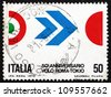 ITALY - CIRCA 1970: a stamp printed in the Italy shows Symbol of Flight, Colors of Italy and Japan, 50th Anniversary of Arturo Ferrarin's Flight from Rome to Tokyo, circa 1970 - stock photo