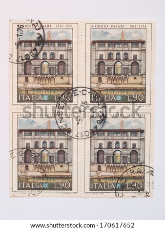 ITALY - CIRCA 1974: mail stamp released in Italy to celebrate the 400th anniversary of architect & painter Giorgio Vasari (1511-1574), who designed the Uffizi building in Florence shown on the stamp - stock photo