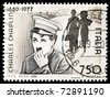ITALY - CIRCA 1989: Stamp printed by Italy celebrating 100 years from the birth of Charles Chaplin circa 1989. - stock photo