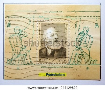 ITALY - CIRCA 2003: stamp printed by Italy, shows Antonio Meucci, invention of the telephone, circa 2003 - stock photo