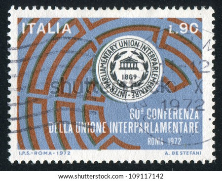 ITALY - CIRCA 1972: stamp printed by Italy, shows Conference Emblem, Seating Diagram, circa 1972