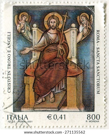 ITALY - CIRCA 2001: stamp printed by Italy, shows Enthroned Christ and Angels, Sancta Sanctorum, St. John Lateran Basilica, circa 2001 - stock photo