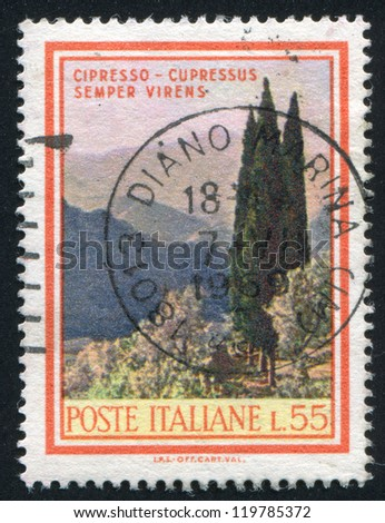 ITALY - CIRCA 1968: stamp printed by Italy, shows Italian Cypress, circa 1968