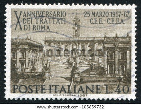 ITALY - CIRCA 1967: stamp printed by Italy, shows Seat of Parliament on Capitoline Hill, Rome, circa 1967