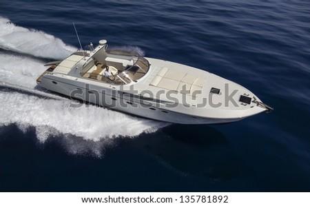 Italy, Circeo (Rome), Tyrrhenian sea, luxury yacht, aerial view - stock photo