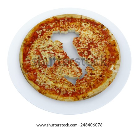 Italy country map cropped on pizza, 3d illustration - stock photo