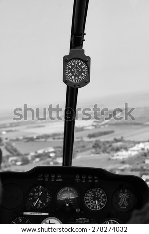 Italy, countryside, Flying on a chopper, compass - stock photo