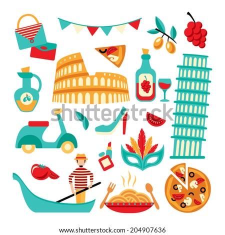 Italy decorative elements set of pizza spaghetti pisa tower isolated  illustration - stock photo