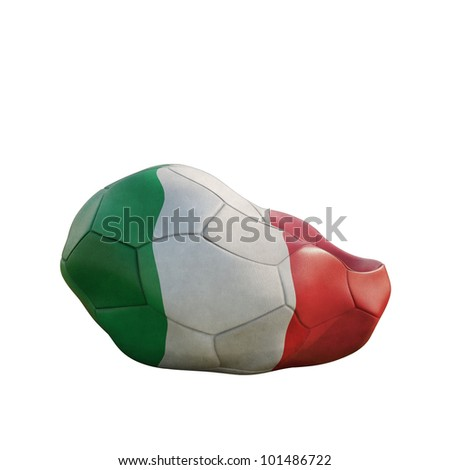 italy deflated soccer ball isolated on white - stock photo