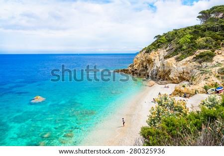 Italy, Elba island, panoramic view of beautiful beach.Elba island, Tuscany, Italy. - stock photo