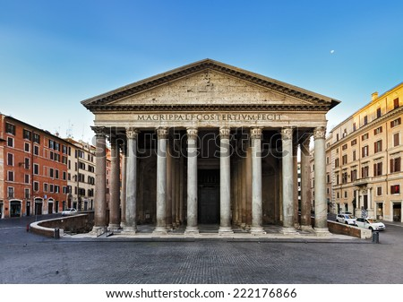 Italy Europe ancient roman pantheon temple front view at classical columns portico colonnade with surrounding historic rome buildings at sunrise nobody - stock photo