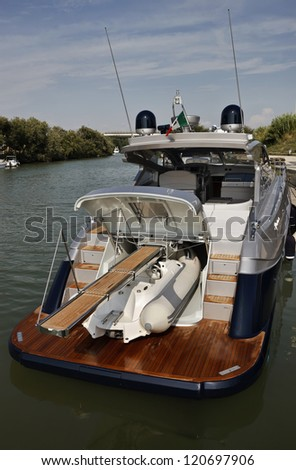 Italy, Fiumicino (Rome), Tevere river, Alfamarine 60 luxury yacht, view of the transom, the tender and the ladder