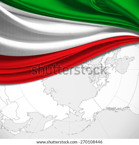 Italy flag and world map background - stock photo