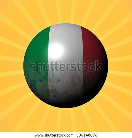 Italy flag euros sphere on sunburst illustration - stock photo