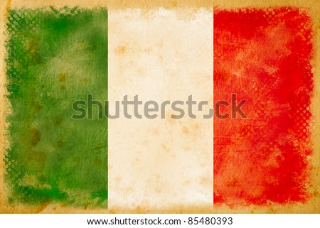 Italy flag grunge  on old vintage paper - stock photo