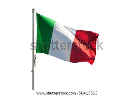 Italy flag isolated on white - stock photo