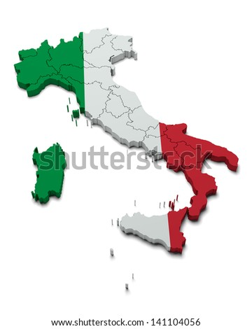Italy flag map on white isolated - stock photo