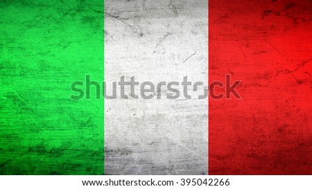 Italy flag on a dark concrete surface