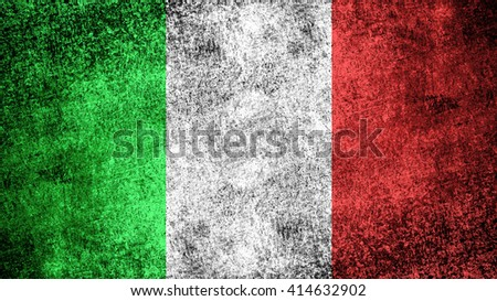 Italy flag on a dark grungy metal surface