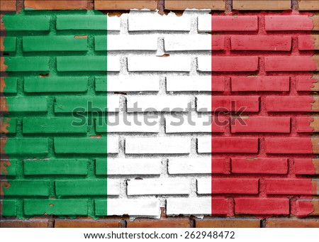 Italy flag painted on  brown brick wall background - stock photo