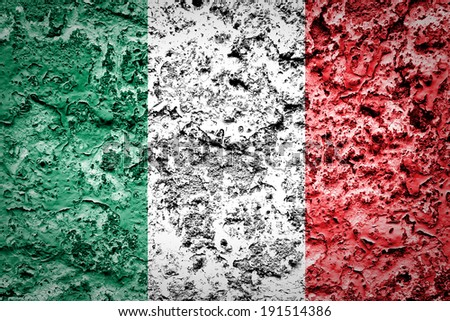 Italy flag painted on concrete wall  - stock photo