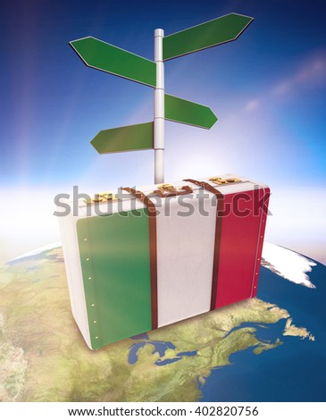 Italy flag suitcase against blue and white sky - stock photo