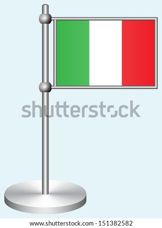 Italy Flag with Metal Stand