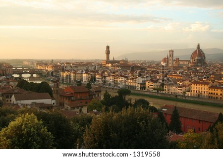 Italy, Florence, Arno river at sunset - stock photo