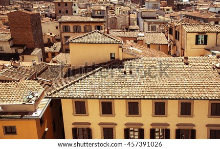 Italy. Florence. Top view of old tiled roof. - stock photo