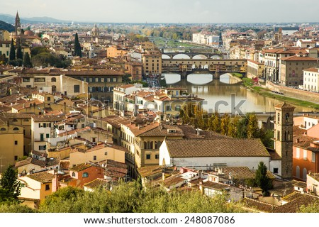 Italy. Florence. View to the city and Ponte Vecchio.