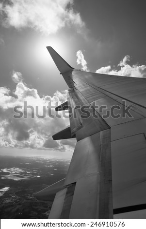 Italy, flying airplane wing