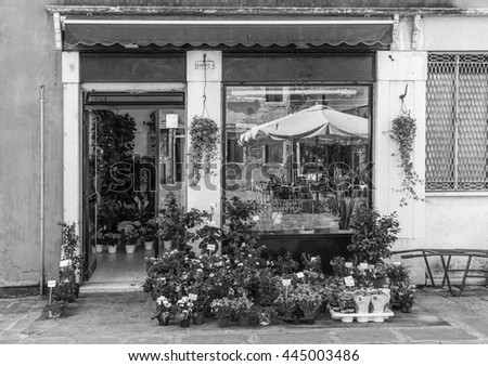 ITALY - JUNE 26; 2014: Windows and doors in an old house decorated with flower pots and flowers . Black and white photography.