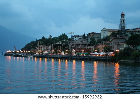 Italy. Lake Garda. Limone sul Garda town. Evening - stock photo
