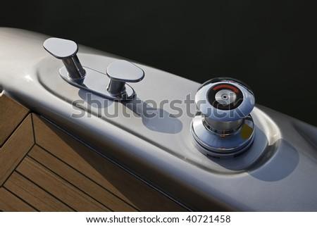 ITALY, Lazio, Fiumicino/Rome, luxury yacht Alfamarine 60', winch - stock photo
