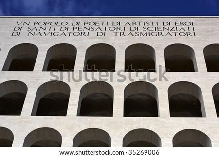 ITALY, Lazio, Rome, Eur, the Square Coliseum (Civilization and Work Palace) - stock photo