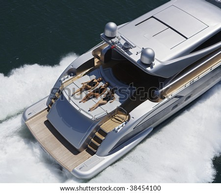 ITALY, Lazio, Tirrenian sea, off the coast of Fiumicino/Rome, aerial view of luxury yacht