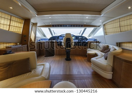 Italy, 78 luxury yacht, dinette and driving consolle