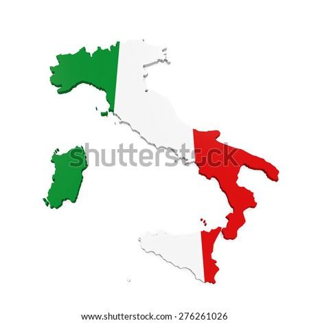 Italy Map Isolated - stock photo