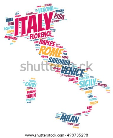 Italy Map Silhouette Word Cloud With Most Popular Travel Destinations