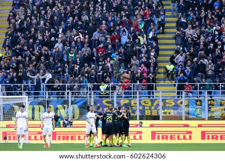 Italy, Milan, march 2017: fc Inter players celebrate goal after the 6-1 during football match between FC INTER vs ATALANTA, Italy League Serie A Tim, San Siro stadium march 12 2017