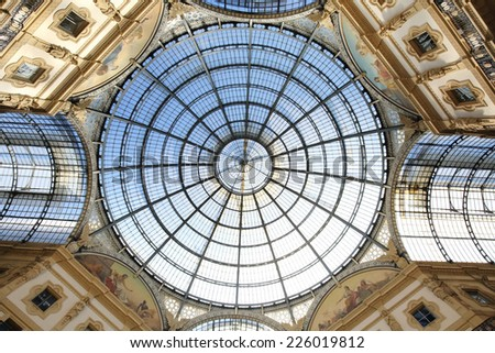 ITALY, MILAN -OCTOBER 23, 2014: the roof of  Galleria Vittorio Emanuele II in Milan on October 23, 2014.This place is one of the most popular shopping areas in Milan, Italy. - stock photo