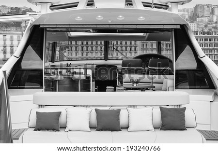 Italy, Naples, Atlantica luxury yacht (Cantieri di Baia boatyard), stern deck and dinette