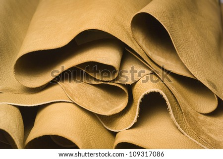 Italy, Naples, cow leather in a leather factory - stock photo