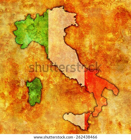 italy on old vintage map with flag - stock photo