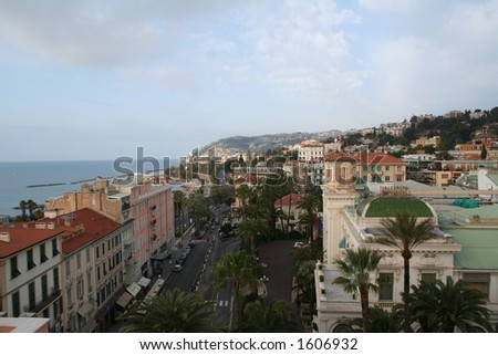 Italy. Panorama of San Remo. A casino - stock photo