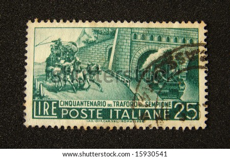 Italy postage stamp on black background