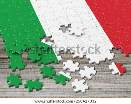 Italy Puzzle Flag - stock photo