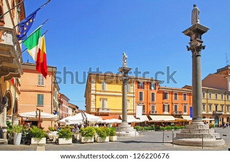Italy, Ravenna People square - stock photo